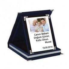Resimli Kişiye Özel Mavi Kadife Plaket (9x12 cm)