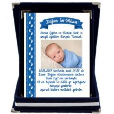Doğum Sertifikası Plaket - Erkek Bebek Hediyesi