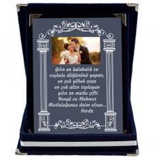 Yeni Evlilere Düğün Hediyesi Fotoğraflı Plaket