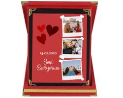 Sevgililer Günü Hediyesi Kolaj Fotoğraflı Plaket