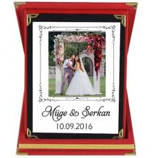 Evlilik Yıl Dönümü Hediyesi Fotoğraflı İsimli ve Tarihli Plaket
