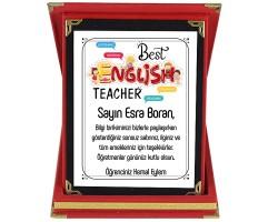 İngilizce Öğretmenine Hediye İsim Baskılı Plaket - Öğretmenler Günü Hediyesi