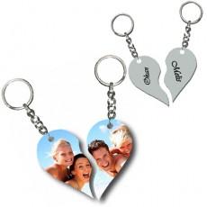 Fotoğraf ve İsimli Sevgili Anahtarlık Seti - Kırık Kalp