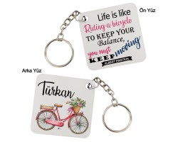 Bayan Bisikletçiye Hediye İsimli Anahtarlık