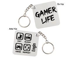 Gamer Life Oyuncuya Hediye İsimli Kişiye Özel Anahtarlık