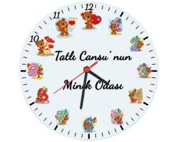 Çocuk Odası Hediyesi İsimli Duvar Saati (Cam 29cm)