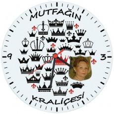 Anneler Gününe Özel Fotoğraflı Mutfağın Kraliçesi Duvar Saati