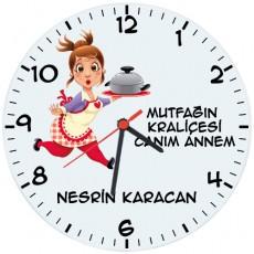 Anneye Hediye Mutfağın Kraliçesi İsimli Duvar Saati