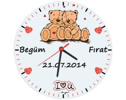 Aşık Ayıcıklar Sevgili Duvar Saati - İsme Özel (Cam 29cm)