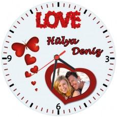 Love Duvar Saati - Sevgiliye Hediye Fotoğraflı Saat (Cam 29cm)