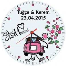 Yeni Evlilere Özel Sevgili Duvar Saati - Just Married (Cam 29cm)