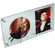 Atatürk Fotoğraflı Aynalı Cam Masa Saati