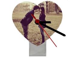 Fotoğraflı Kalp Masa Saati