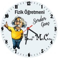 Fizik Öğretmenine Hediye İsimli Einstein Cam Duvar Saati