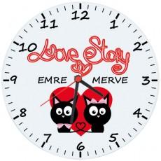 "İsme Özel ""Love Story"" Cam Duvar Saati (27 cm)"