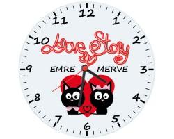 "İsme Özel ""Love Story"" Cam Duvar Saati (Cam 29cm)"