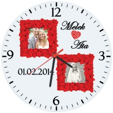 Fotoğraflı Kişiye Özel Çerçeveli Cam Duvar Saati (27 cm)