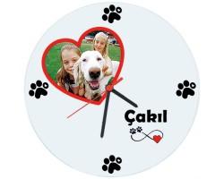 Köpek Sahiplerine Özel Kalpli Duvar Saati (Cam 29cm)