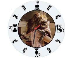 Kedi Sahiplerine Özel Tasarım Fotoğraflı Duvar Saati (Cam 29cm)