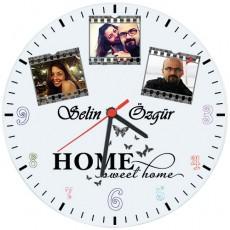 Fotoğraf Baskılı Cam Duvar Saati - Home Sweet Home (Cam 29cm)