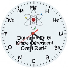 Kimya Öğretmenleri için Hediyelik Saat - Öğretmenler Günü Hediyesi (Cam 29cm)