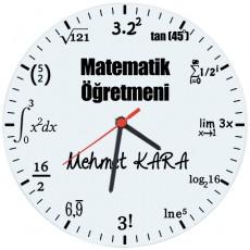 Matematik Öğretmenleri için Hediyelik Saat - Öğretmenler Günü Hediyesi (Cam 29cm)