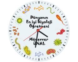 Biyoloji Öğretmenleri için Hediyelik Saat - Öğretmenler Günü Hediyesi (Cam 29cm)