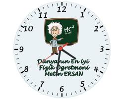 Fizik Öğretmenleri için Hediyelik Saat - Öğretmenler Günü Hediyesi (Cam 29cm)
