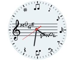 Müzik Öğretmenleri için Hediyelik Saat - Öğretmenler Günü Hediyesi (Cam 29cm)