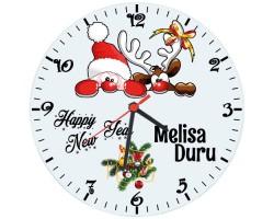 Yılbaşı Hediyesi Cam Duvar Saati - İsme Özel (29cm)