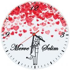 Sevgililer Günü Hediyesi - İsimli Kalp Yağmuru Cam Duvar Saati