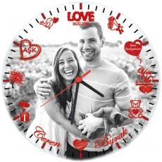 Sevgililere Özel Fotoğraflı ve İsimli Duvar Saati (Cam 29cm)