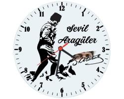 Atatürk Fotoğraflı Cam Duvar Saati (29 cm)