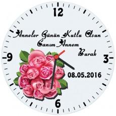Anneler Günü Hediyesi - Çiçekli Duvar Saati