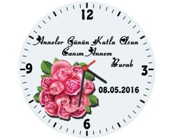Anneler Günü Hediyesi - Çiçekli Duvar Saati (Cam 29cm)