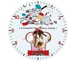 Anneler Günü Hediyesi - Fotoğraflı Mutfak Saati (Cam 29cm)