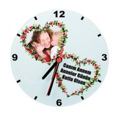 Anneler Günü Hediyesi - Kalpli Fotoğraflı Saat