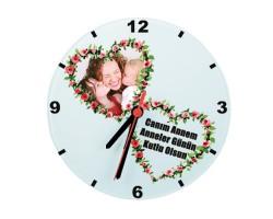 Anneler Günü Hediyesi - Kalpli Fotoğraflı Saat (Cam 29cm)