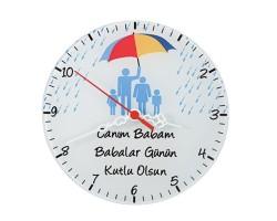 Babalar Günü Hediyesi - Mesajlı Cam Duvar Saati (29cm)