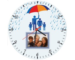 Babalar Günü Hediyesi - Fotoğraflı Duvar Saati (Cam 29cm)