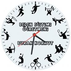 Beden Eğitimi Öğretmeni Hediyesi Saat - Öğretmenler Günü Hediyesi (Cam 29cm)