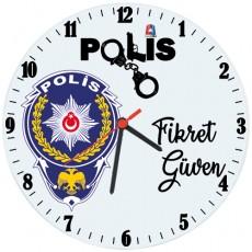 Polise Hediye İsimli Ofis Cam Duvar Saati