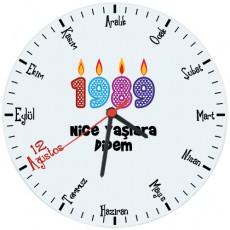 Doğum Günü Hediyesi Tarihe Özel Duvar Saati (Cam 29cm)