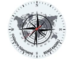 Coğrafya Öğretmeni Hediyesi Saat (Cam 29cm)