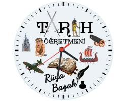 Tarih Öğretmeni Hediyesi Saat (Cam 29cm)
