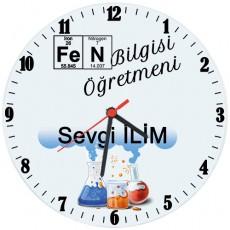 Fen Bilgisi Öğretmeni Hediyesi Saat (Cam 29cm)