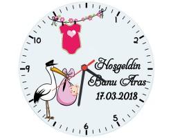 Hoşgeldin Kız Bebek Hediyesi Duvar Saati (Cam 29cm)