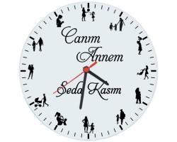 Annelere Özel Canım Annem İsimli Saat (Cam 29cm)