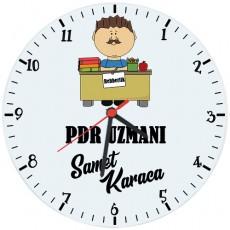 Erkek Rehberlik Öğretmeni - PDR Hediyesi Saat (Cam 29cm)