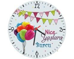 İsme Özel Balonlu Doğum Günü Hediyesi Duvar Saati (Cam 29cm)